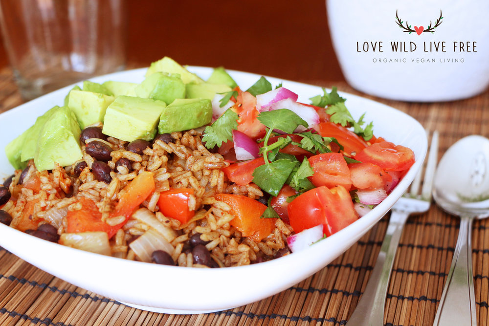 Seriously satisfying vegan burrito bowl filled with black beans, sautéed onions and peppers, fresh salsa and avocado.