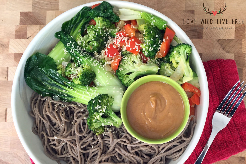 Vegan Soba Noodle Bowl with the Ultimate Peanut Sauce (gluten-free & oil-free option)