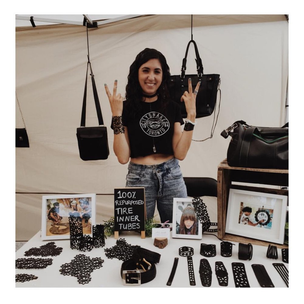 The lovely Chic Made Consciously owner Cassandra Ciarallo representing her Eco-Fashion brand at an event in Toronto.  Photo by: Chic Made Consciously.