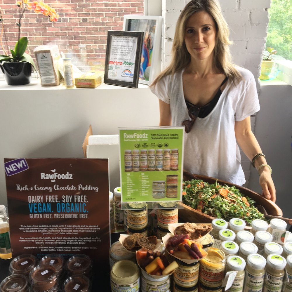 RawFoodz   debuted their NEW Chocolate Pudding at the Vegan Social and it was a huge crowd pleaser!  Photo by Michelle Cass.