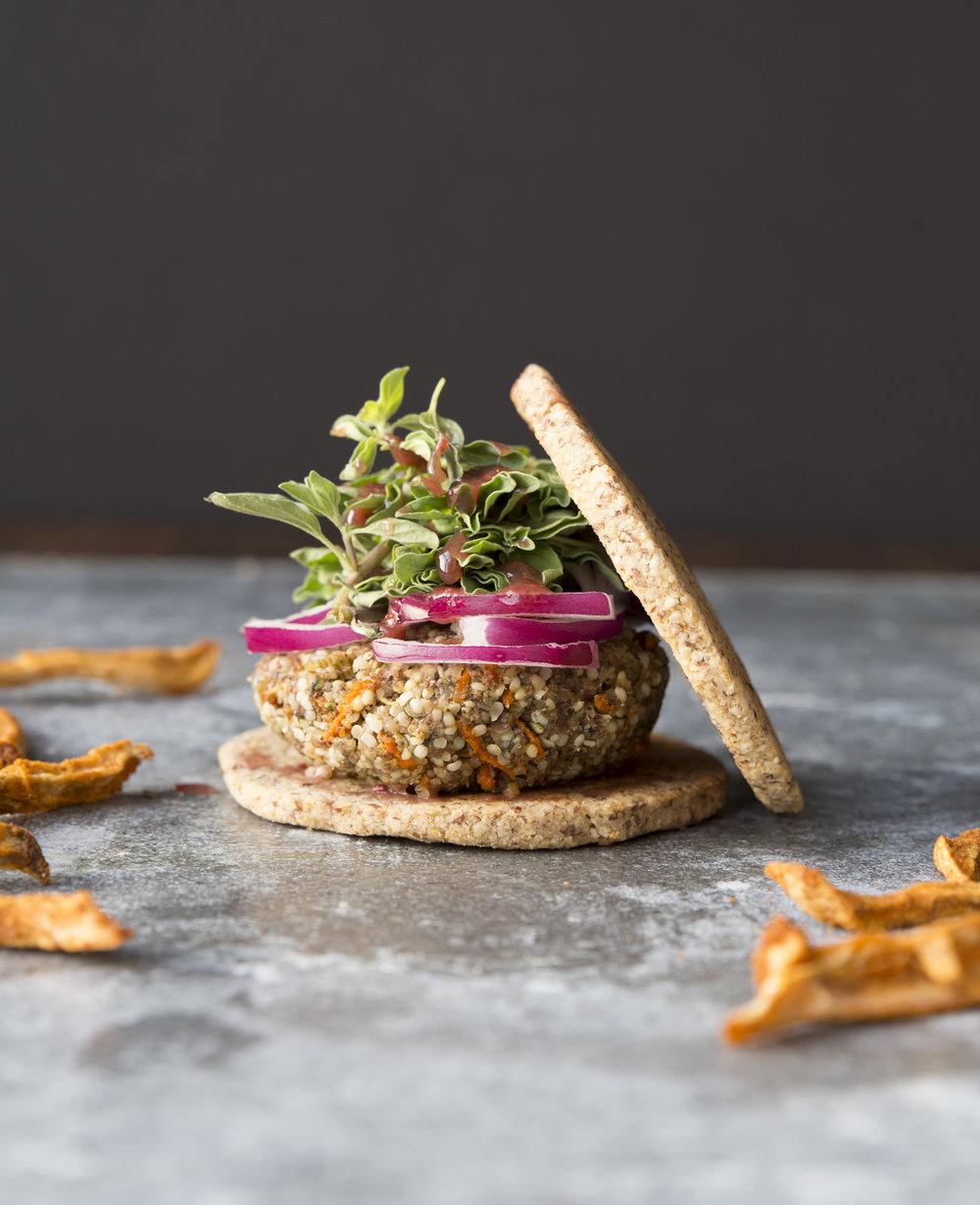 Plant-Protein Burgers with Hemp Seed and Vegetables. Photo from Cook Lively! by Laura-Jane Koers.