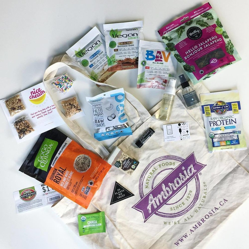 Some of the amazing vegan goodies that were included in our fabulous swag bags! Photo by Love Wild Live Free.