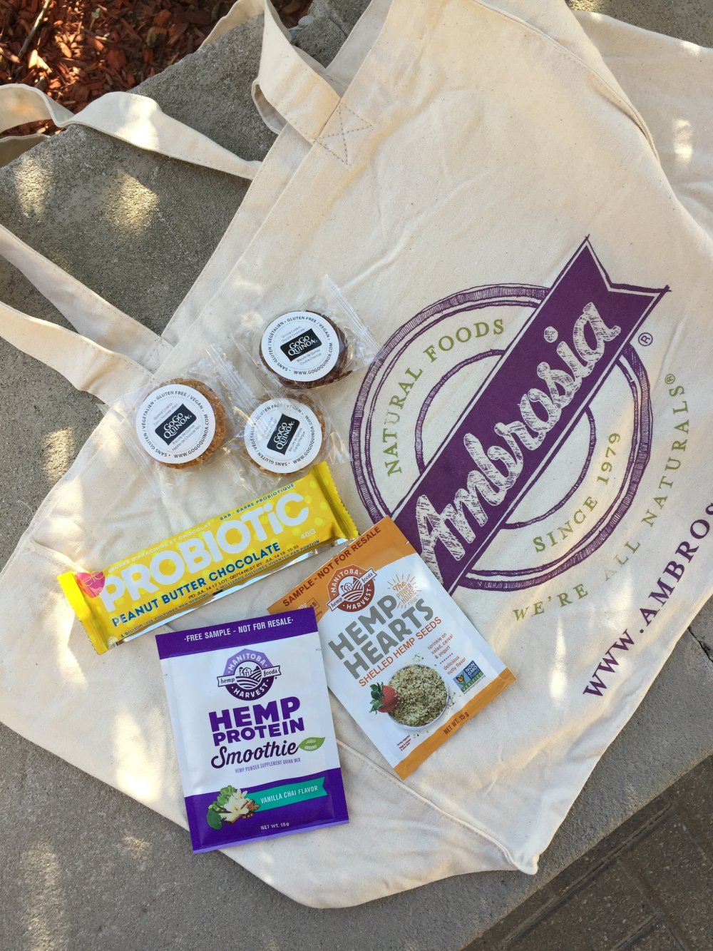 Some of the wonderful vegan treats featured in the swag bags.  Photo by:    Love Wild Live Free .