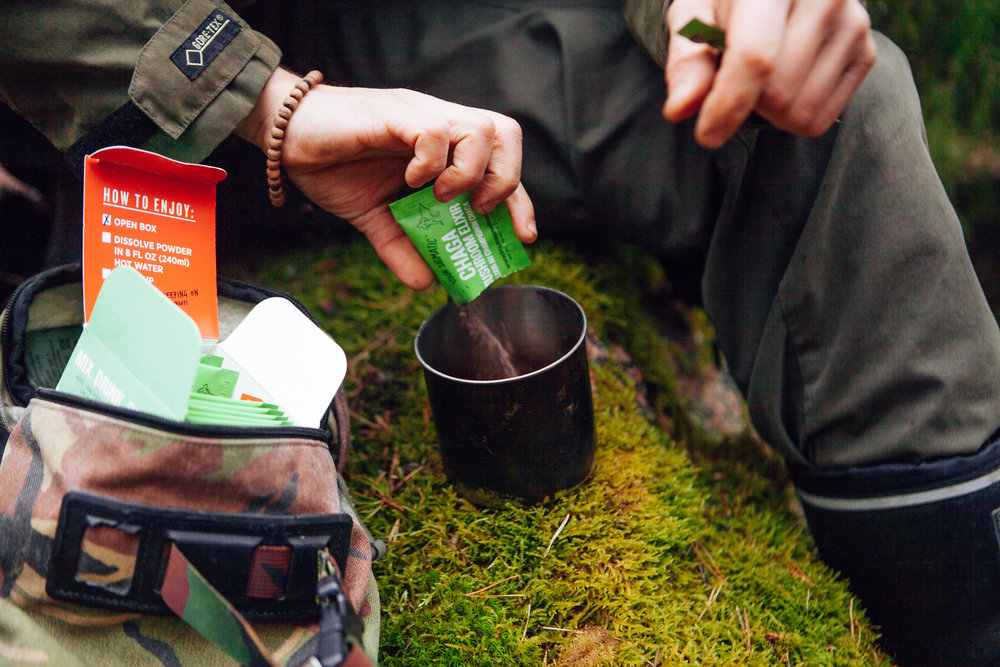 Four Sigmatic's  Chaga Elixir  is the perfect travel companion - bring it with you on your next hike in their convenient single serving pack!