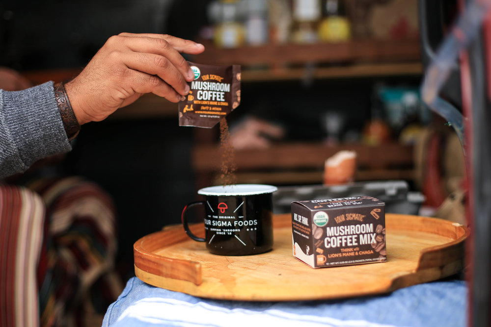 Four Sigmatic's  Mushroom Coffee with Lion's Mane  is designed to support focus and creativity. Drink at work, to study, or whenever your brain needs an energizing hug!