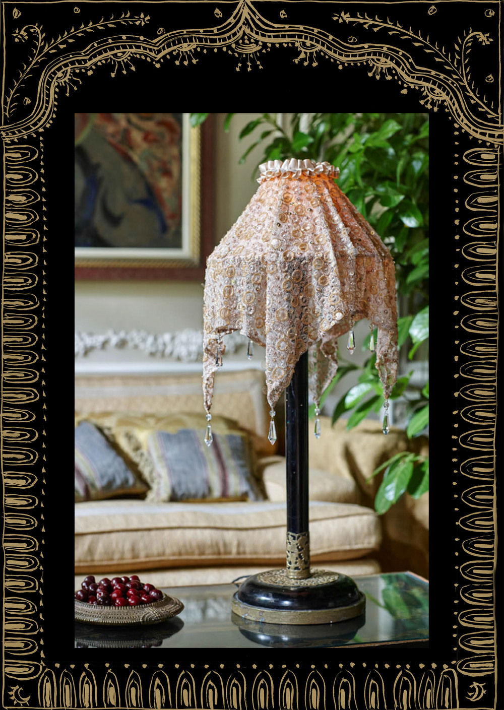 Shawl light in gold beaded fabric on vintage stand