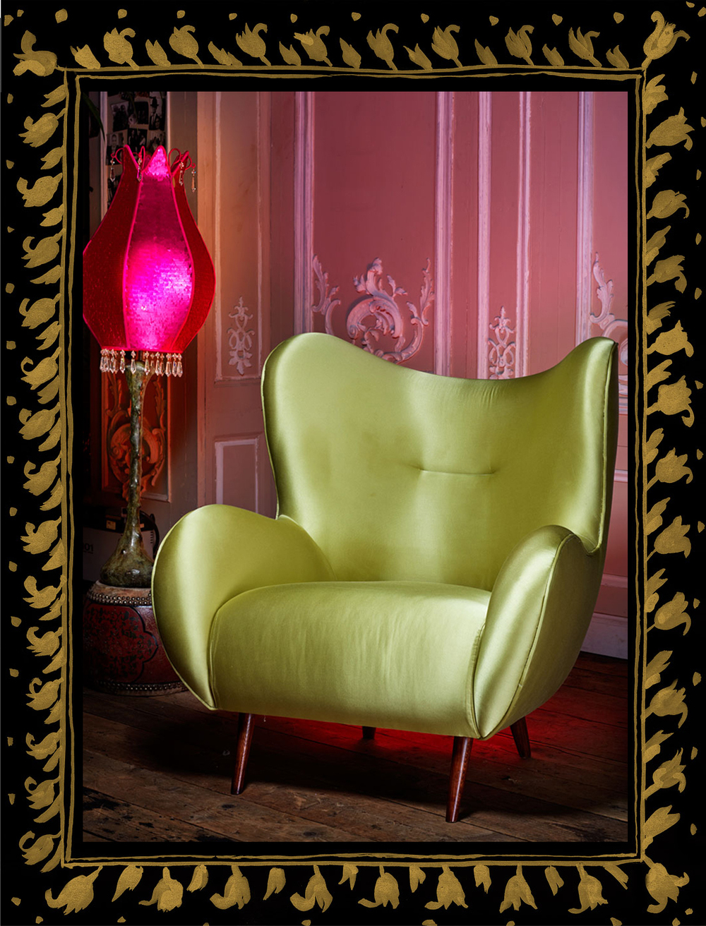 'Fire Monkey' collection, inspired  by 1950's sofa set, shown in light green satin. Also shown Rude lampshade