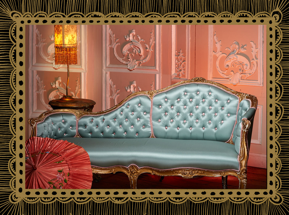 Customised vintage chaise longue upholstered in baby blue satin with candy pink buttons and piping