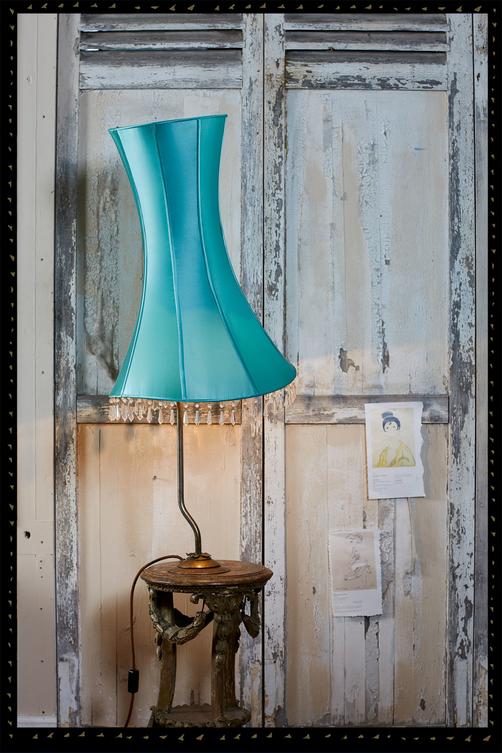 'Amaryllis' lampshade in turquoise satin on vintage brass lampstand