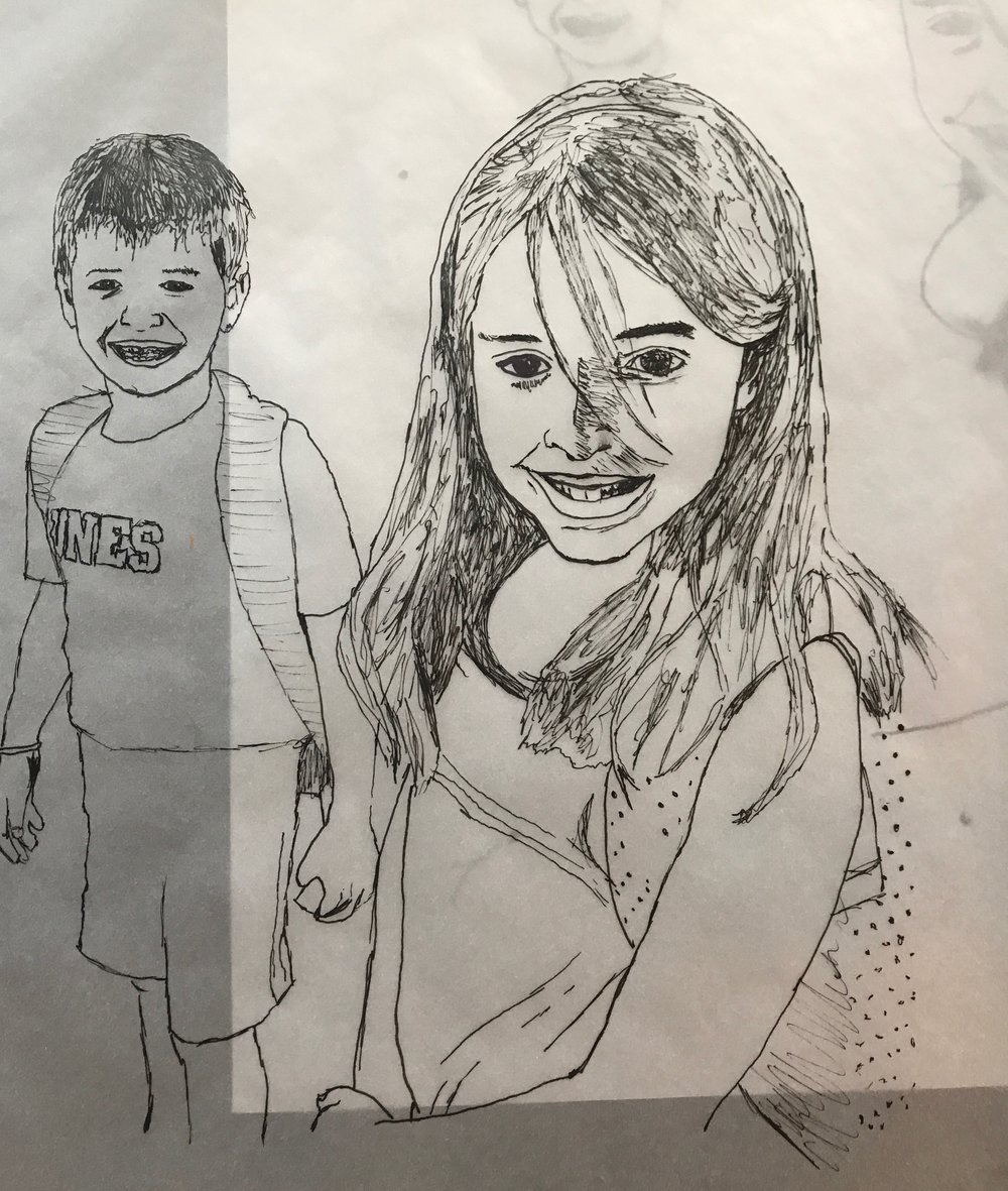 My two youngest siblings. I do most of my detailed illustrations with tracing paper and reference photographs. This is an in-progress shot from a drawing I made for my step-mother.
