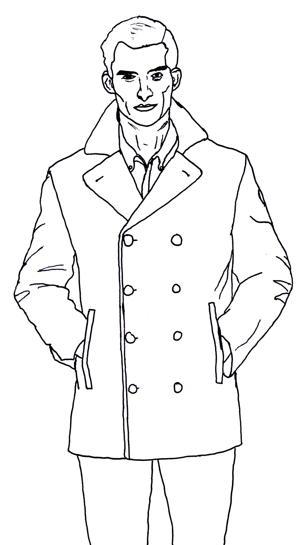 "Illustration from the ""Pea Coat"" segment of Eight Customs in Men's Fashion."