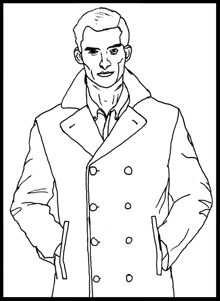 Peacoat Man - An illustration used in the Peacoat segment.