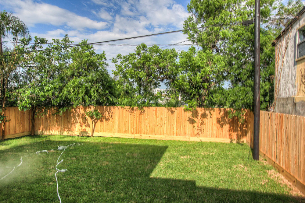 The backyard is uncommonly large, with room for a pool and a lot of other possibilities.
