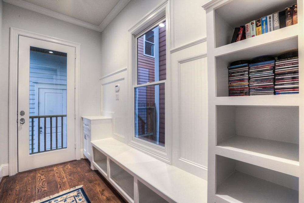 Built-ins in mudroom provide plenty of storage.