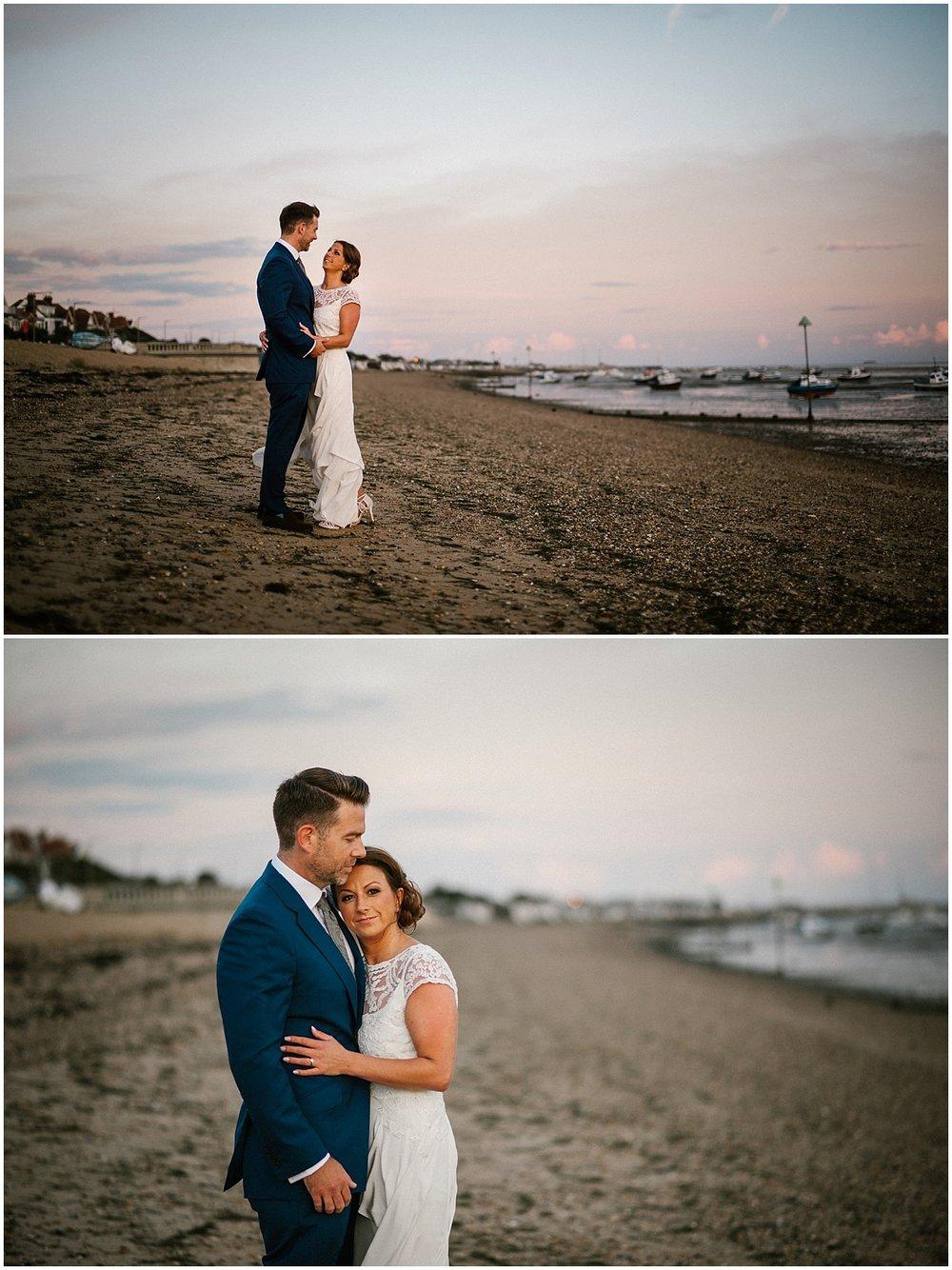 beach wedding at the roslin beach hotel in essex