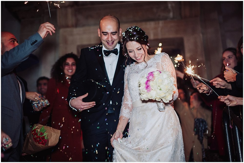winter wedding sparkler photos
