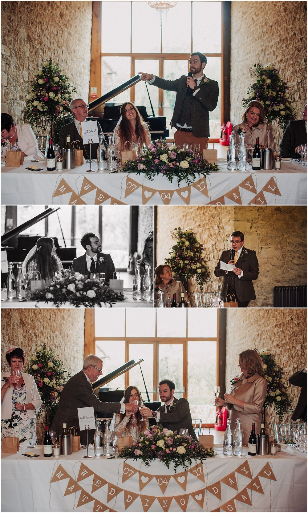wedding photos in the monk refectory at notley abbey