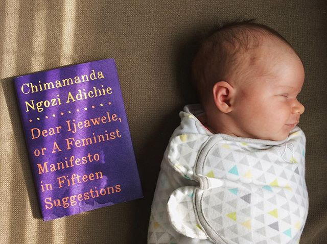 Required reading for all mothers! Thanks so much, @lightbluelola! And thanks for the advice, @chimamanda_adichie. . . #TAA #positivity #feminism #newborn #feminist #motherhood #newmom #love #fourweeks #infant #resist #shepersisted #feministmanifesto #feministliterature #chimamandangoziadichie