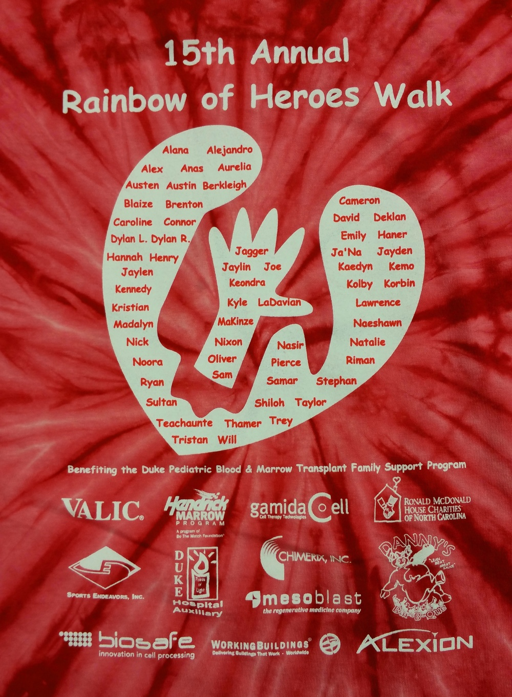 The 2015 Rainbow of Heroes Walk T-shirt! Email Scott Mofield at scott.mofield@duke.edu if you will not be at the Walk and would like to order one.