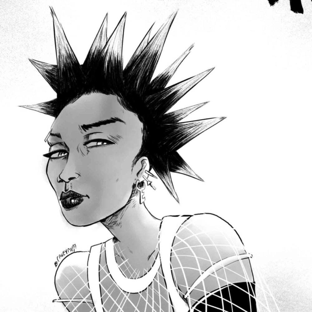 "Inktober Day 02: Manga Rih © 2017 Raven ""raveyrai"" White"