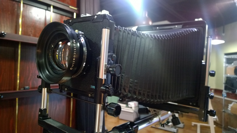A typical example of professional 8x10 view camera... In this case, a Toyo.