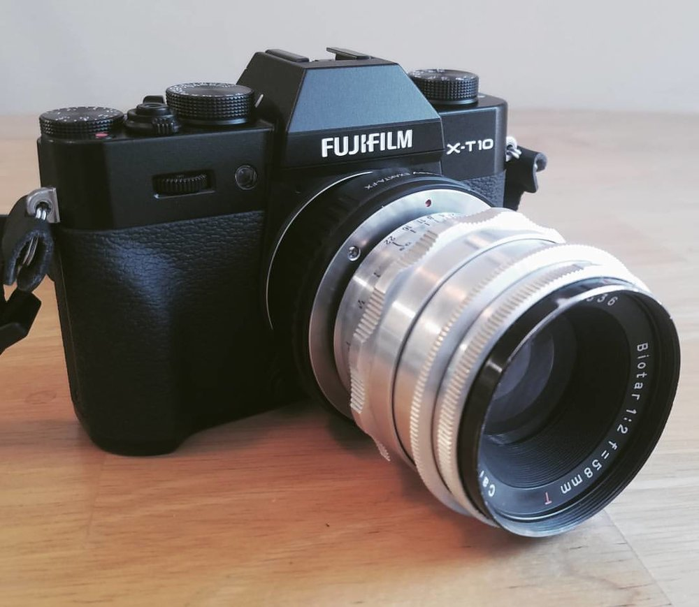 The Fujifilm X-T10 with an Exakta to FX adapter and Carl Zeiss Jena Biotar 58mm f/2