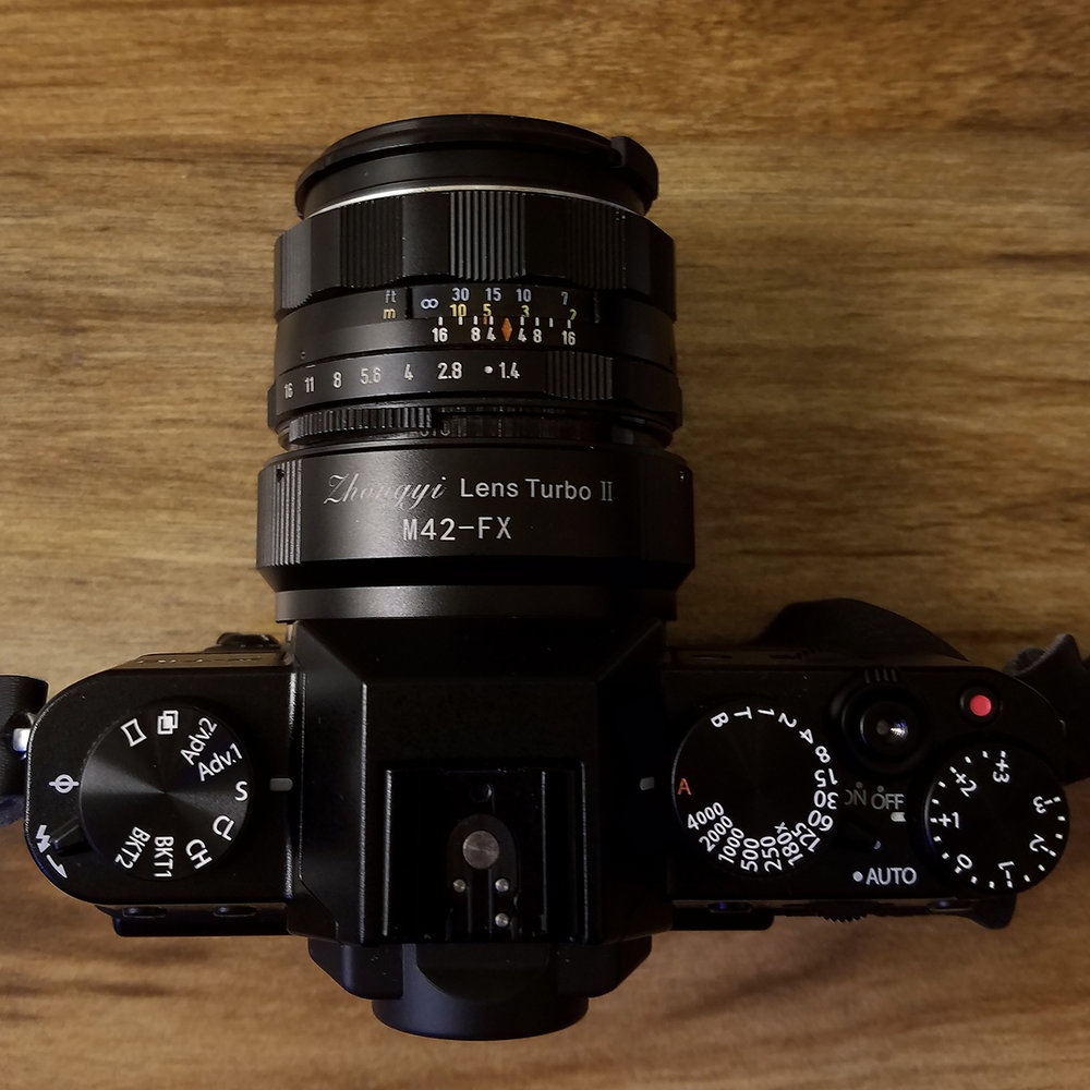 The Fujifilm X-T10 with the Zhongyi Lens Turbo II, a focal reducer, and Super Takmuar 50mm f/1.4