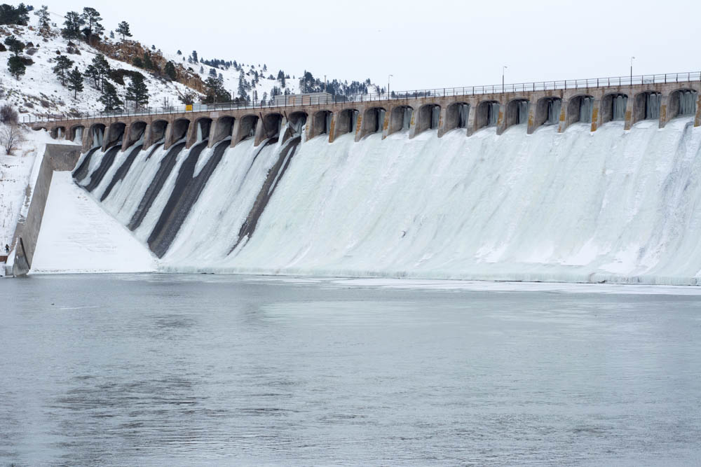 Ice in the guides, ice in the spillways - it's wintertime fishing in Montana.