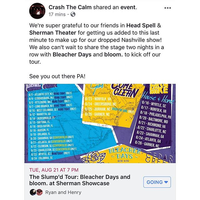 Shout outs to @head_spell, @fbtentertainment & @sherman_theater for helping us out when our Nashville date fell through! Can't wait to play two gigs with @bleacherdays & @bloombandma to kick off our tour! More info on our Facebook 🤙🏻