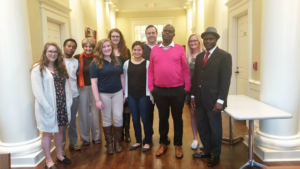 Survivors from Ethiopia, Zimbabwe and Cameroon at the College of New Jersey with students and TASSC intern Alessandra Testa.