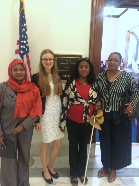 Sudanese survivors and TASSC intern Sarah Gerwens visit office of Senator John McCain from Arizona during June Survivors Week 2016.