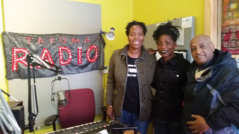 Suzette Gardner (left) from Takoma Radio with Nanythe Talani and Fekade Ancho.