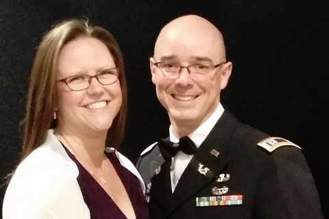 CPT Andrew M. Wright & Mrs. Melissa Wright at the 2016 U.S. Army JAG Center and School formal.