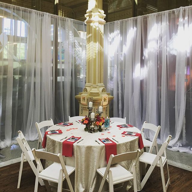 Draping and linens over the weekend at the Old Post Office for Kristi and Corey's reception!