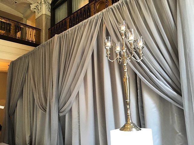 Ceremony draping in the Statler Ballroom at the @marriottstlouis  #ceremony #draping