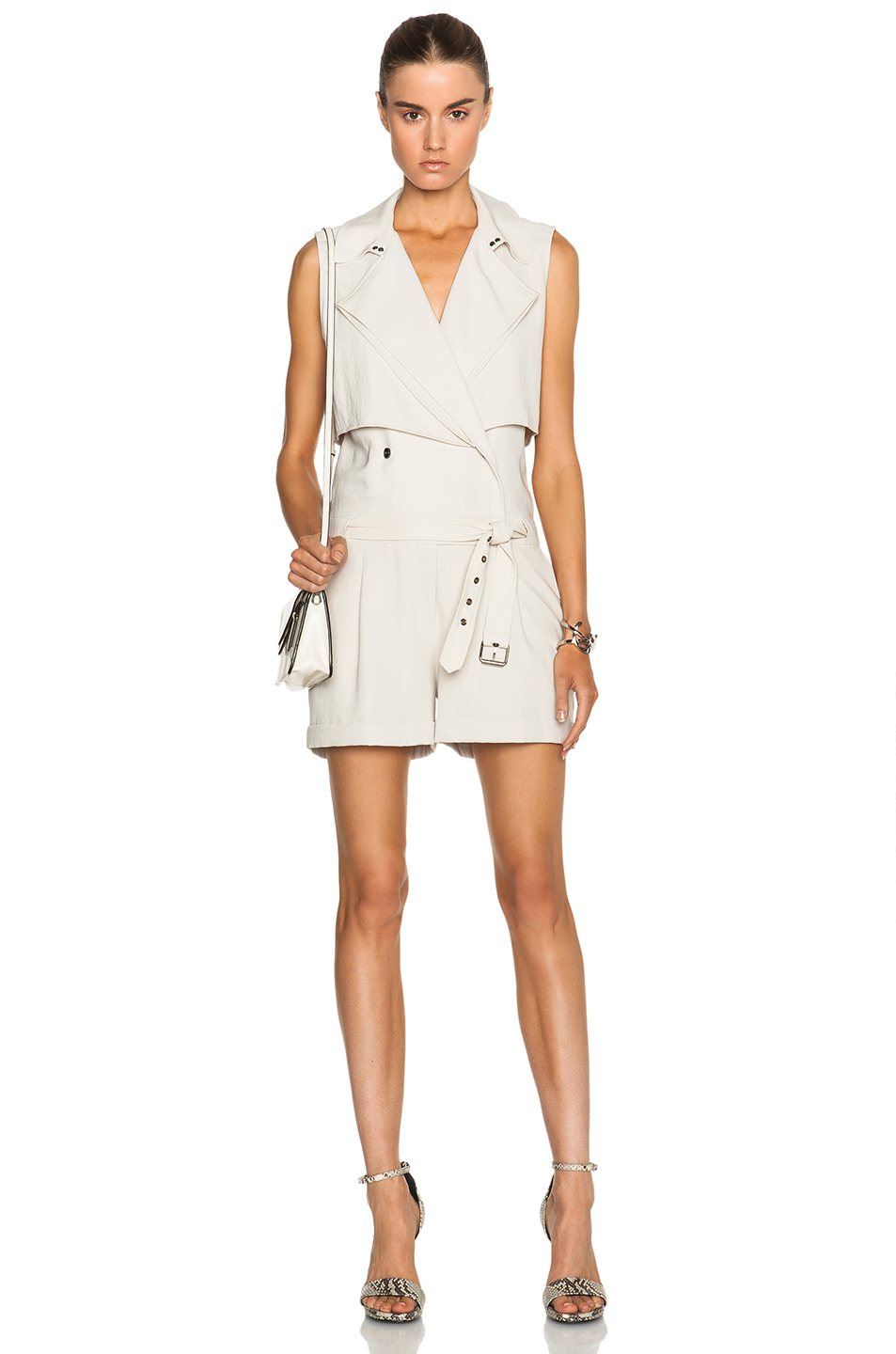 HAUTE HIPPIE - TRENCH SAFARI ROMPER IN SWAN