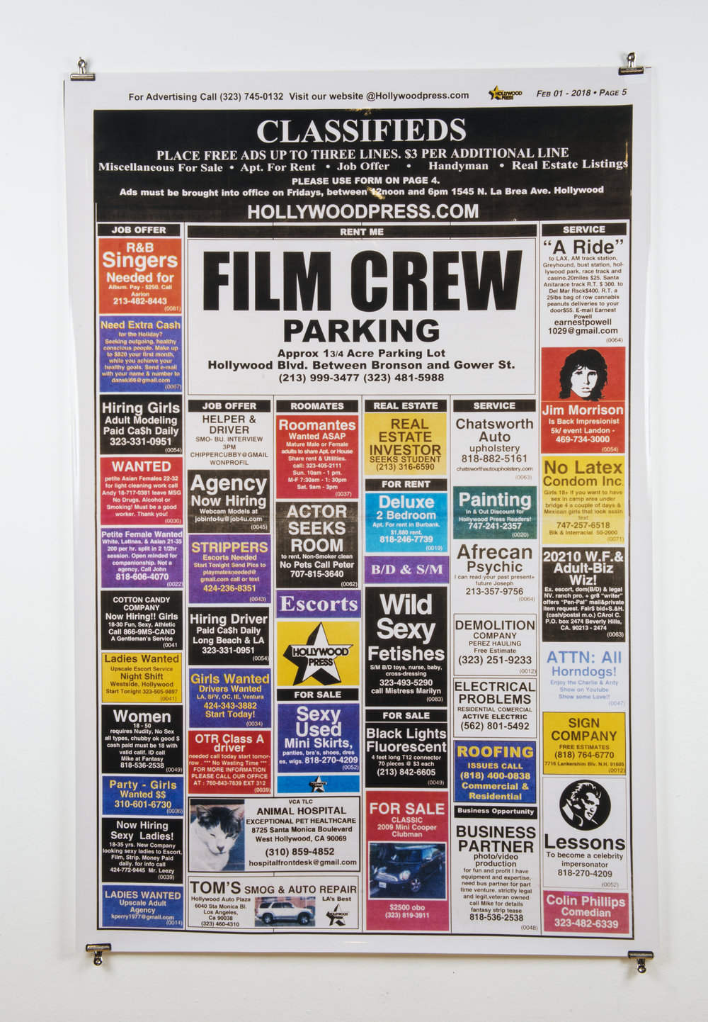 Hollywood Classifieds, a Statement of   Delusion , 50in x 70in, Chromogenic Print.
