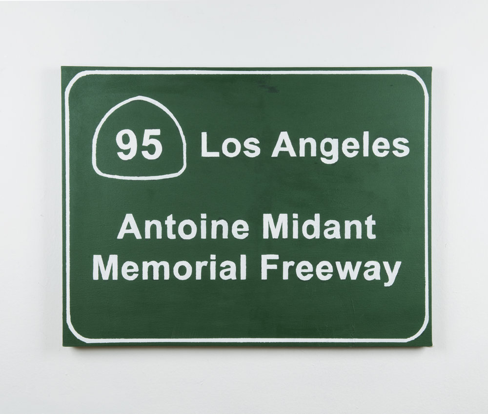 Freeway Sign , 40in x 32 in, Acrylic on Canvas.