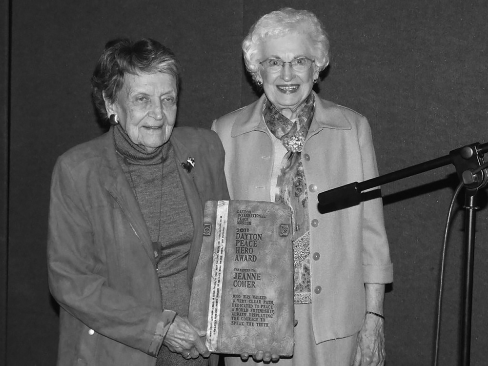 Jeanne Comer (left) with Charlotte Paugh. Credit: Dayton International Peace Museum. Used with permission.