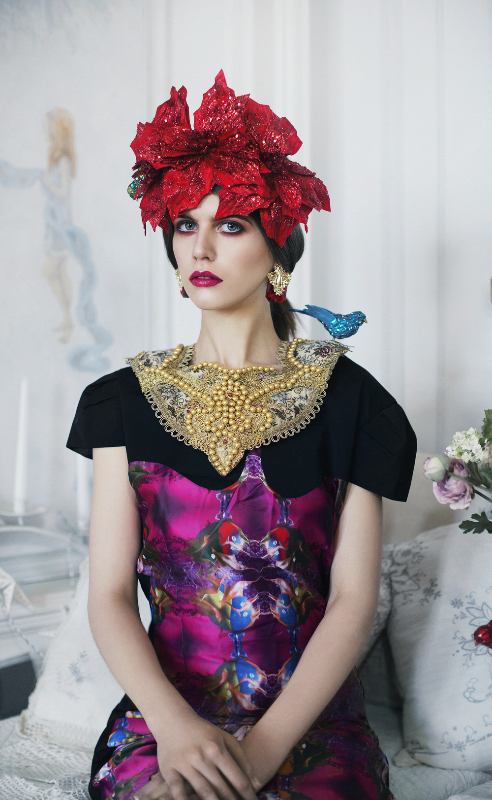 Dress:  Geeks and Stitches , Headpiece:  Liv Free , Necklace:  Velvet Eccentric , Earrings: Stylists own