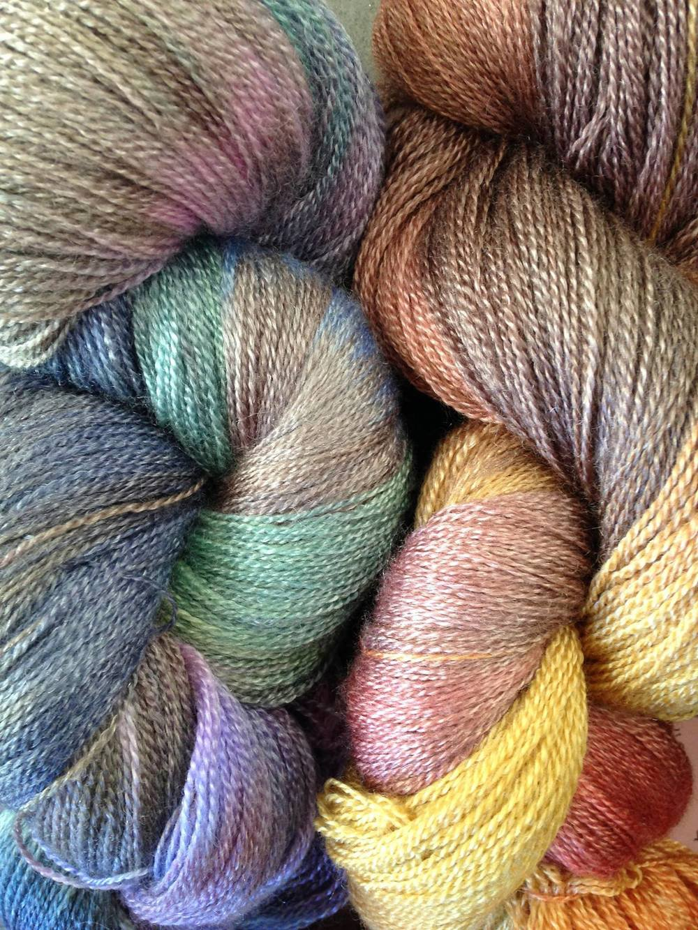 Laceweight yarns from  Mollycoddle Yarns , 50% merino, 50% tencel