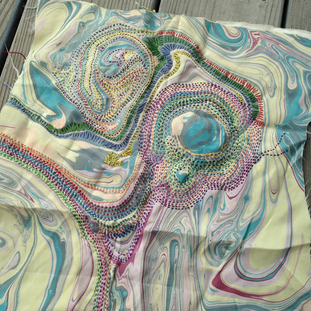 Stitching on fabric marbled by my sister