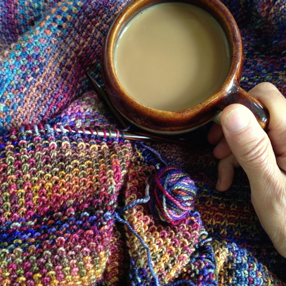 Linen stitch wrap, in progress. Eight or so colorways of   Koigu Premium Painters Palette Merino
