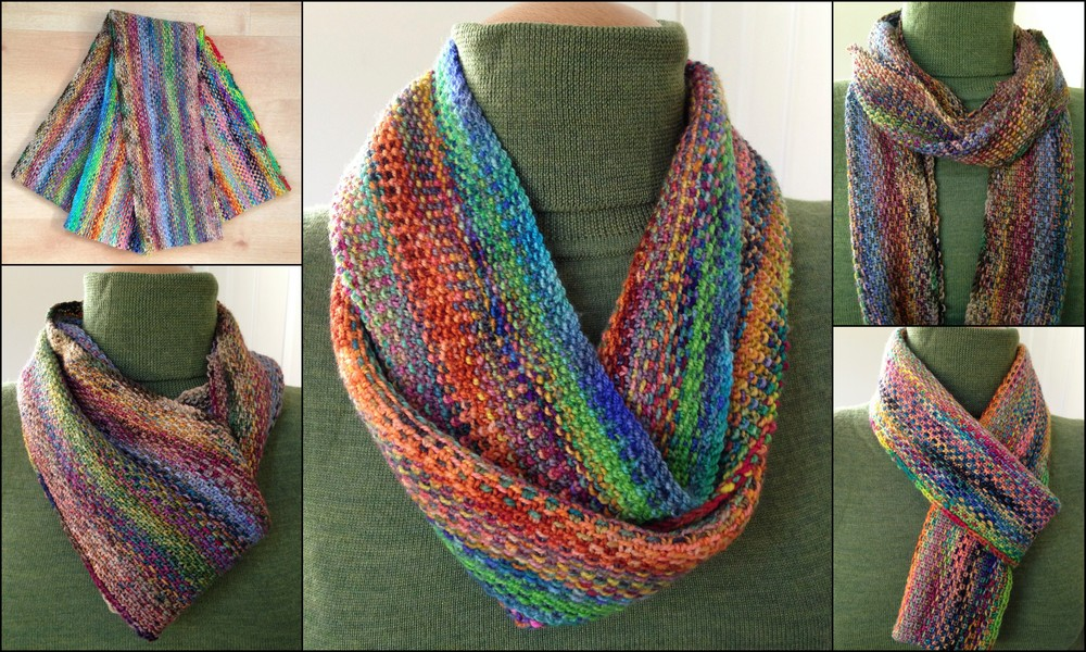 Infinite Colors  , a cowl/infinity scarf worked in fingering weight yarn.
