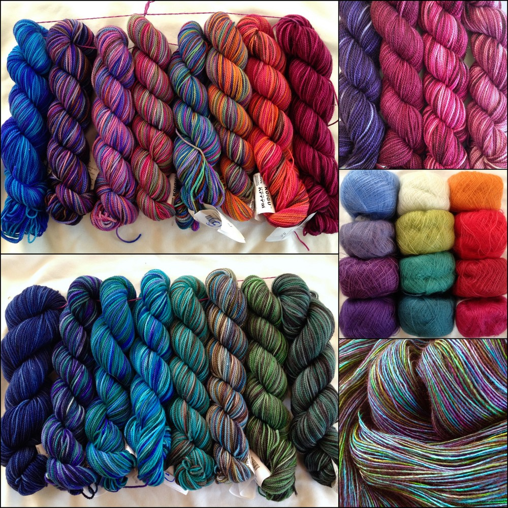 Lots of Koigu, a little Madelinetosh Prairie laceweight, and some Cascade Kid Seta laceweight mohair. Mmmmmmmmm....
