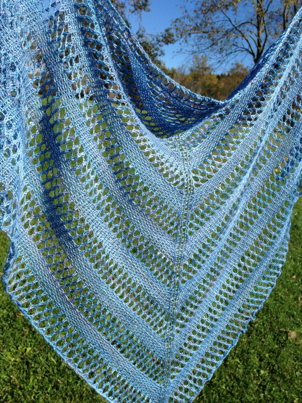 "Linen & Lace Shawl   in KnitPicks Shimmer (70% baby alpaca, 30% silk), colorway ""Hush"""