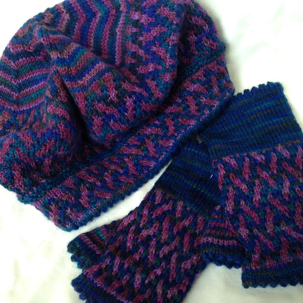 Slip Stitch Mosaic Mitts   and   Slightly Slouchy Slip Stitch Mosaic Hat and Beret