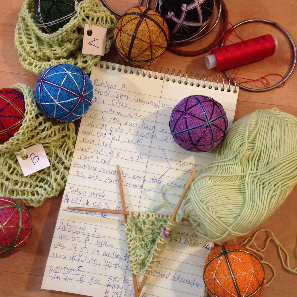 A little temari, a little knitting, and some hoops... prototyping a rather unusual commission