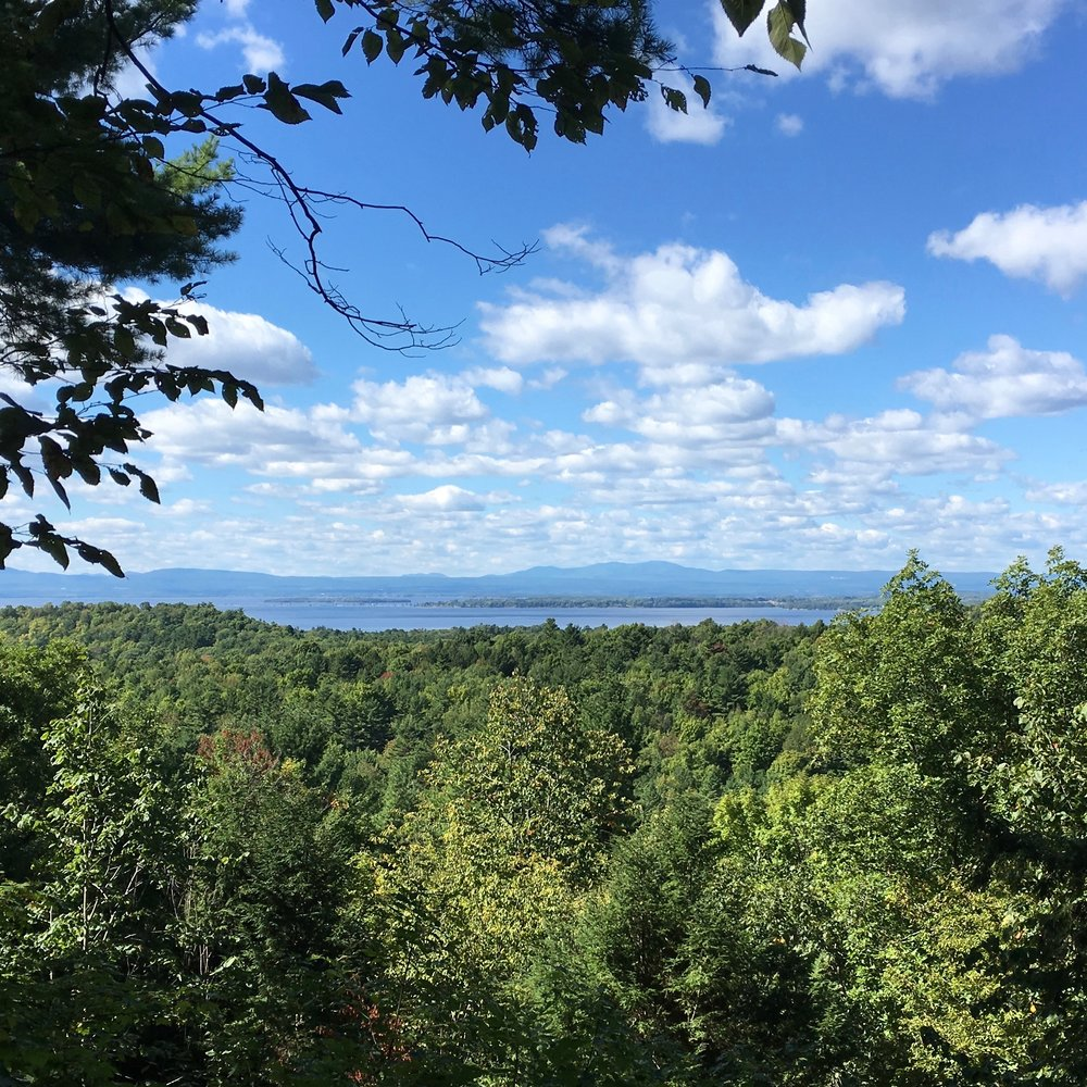 Hiking on Saturday: the view to the west--across Lake Champlain to South Hero Island and the Adirondack Mountains beyond