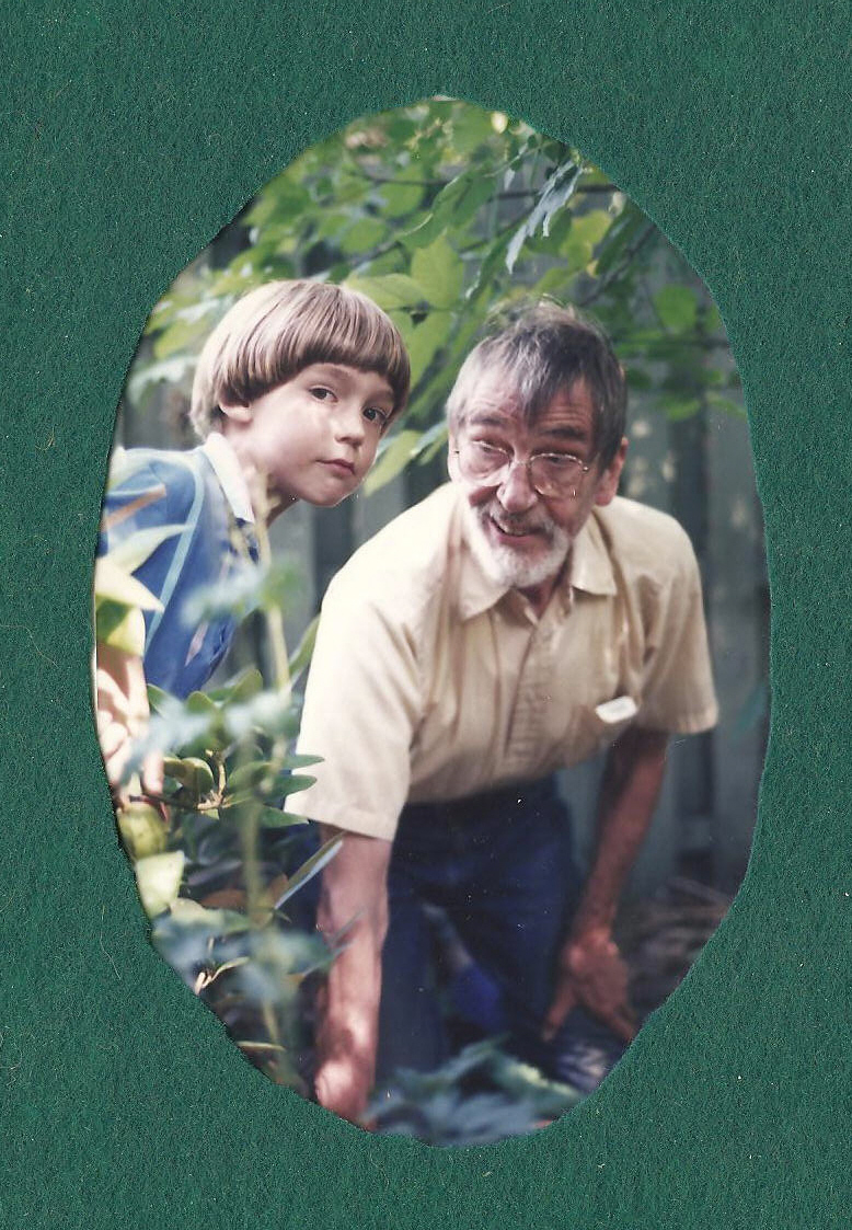 In his garden with my son Loren, 1999 or thereabouts